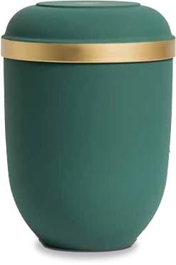 Olivgrüne FriedWald-Urne mit Messing-Zierkante aus Naturstoff
