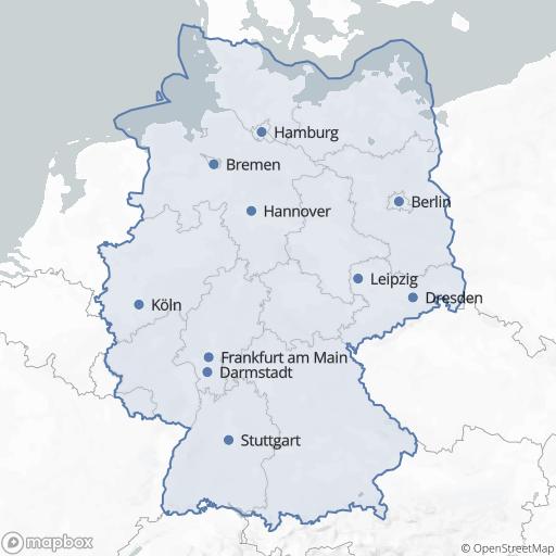 Kartenausschnitt mit allen Regionen, in den Funeria verteten ist