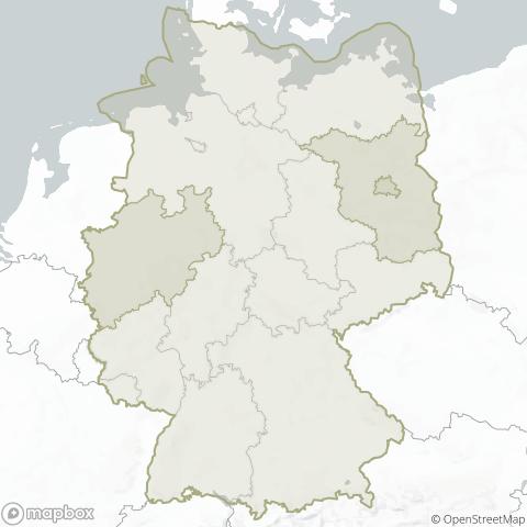 Karte mit dem Servicebereich von Funeria in Deutschland