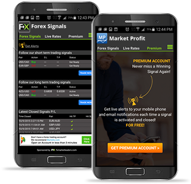 Forex Signals app mobile screens
