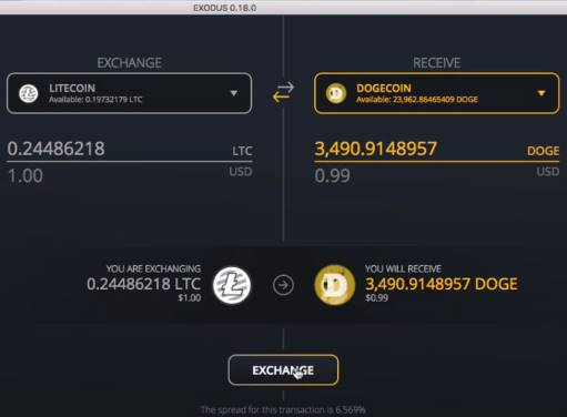 Exodus Wallet snapshot