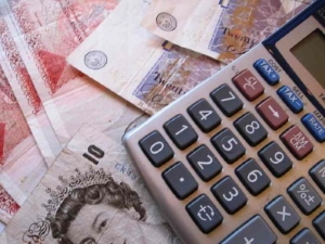Pound notes with calculator