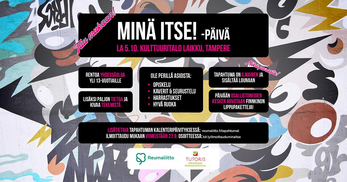 MinäItse!- tapahtuma reumasairauksien kanssa eläville nuorille ja nuorille aikuisille • Suomen Reumaliitto ry