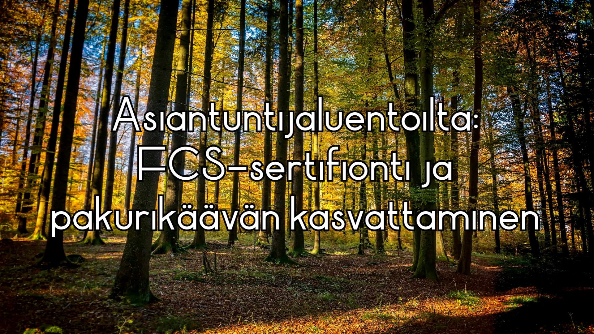 Asiantuntijaluentoilta: FCS sertifiointi ja pakurikäävän kasvattaminen