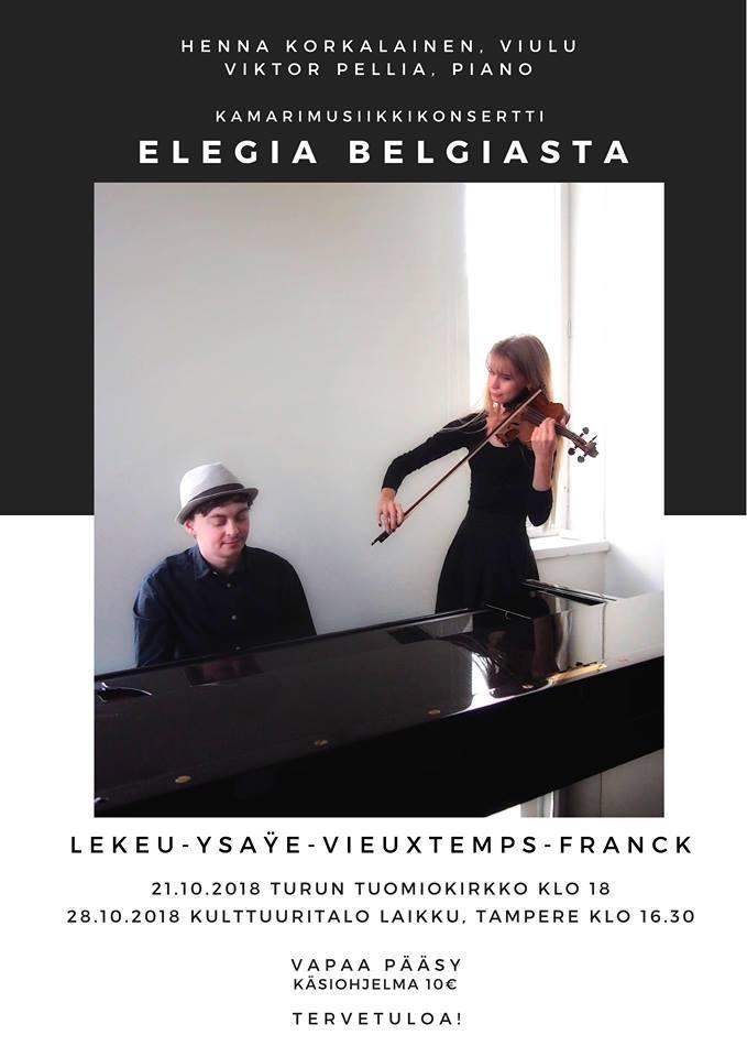 """Kamarimusiikin konsertti """"Elegiaa Belgiasta"""""""