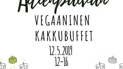 Äitienpäivän vegaaninen kakkubuffet