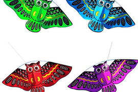 Cute 3D Owl Funny Kids Kite Toy Outedoor Flying Activity Game and 30m Line