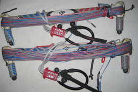 "Lot of 2 Naish Kite surfing bar and 4 line w/smartloop 20""m & 4m line"