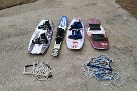2 Wakeboards, Kite board, and 2 tow ropes with 1 ski