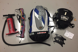 kiteboarding kite, bar, lines, harness and pump package.
