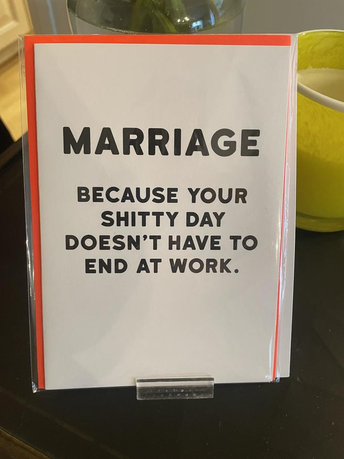 This card my friend got after announcing her divorce