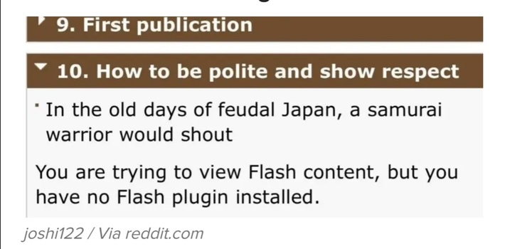 The samurai in feudal japan knew the importance of flash plugins