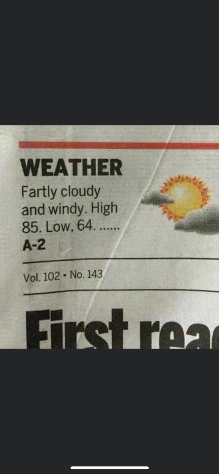 """My mom sent me this and said """"a weather forecast that really stinks"""""""