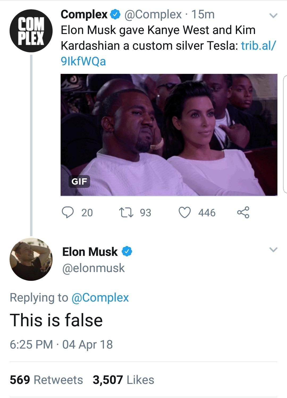 Elon Musk has no time for your false shit.