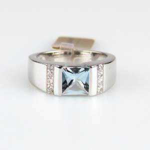 Anello Pave acquamarina e diamanti
