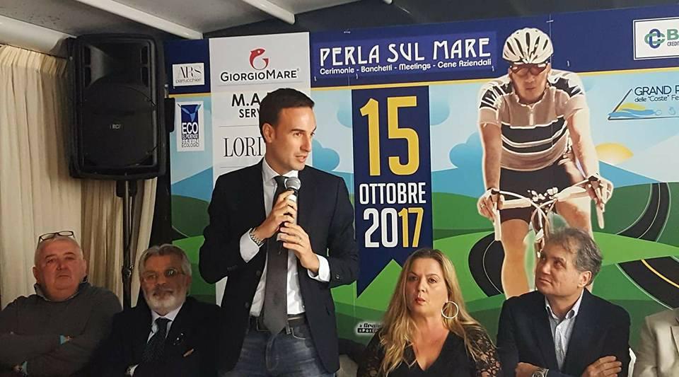 Il sindaco Nazzareno Franchellucci alla presentazione ufficiale della Gran Fondo del Fermano, seconda edizione 2017