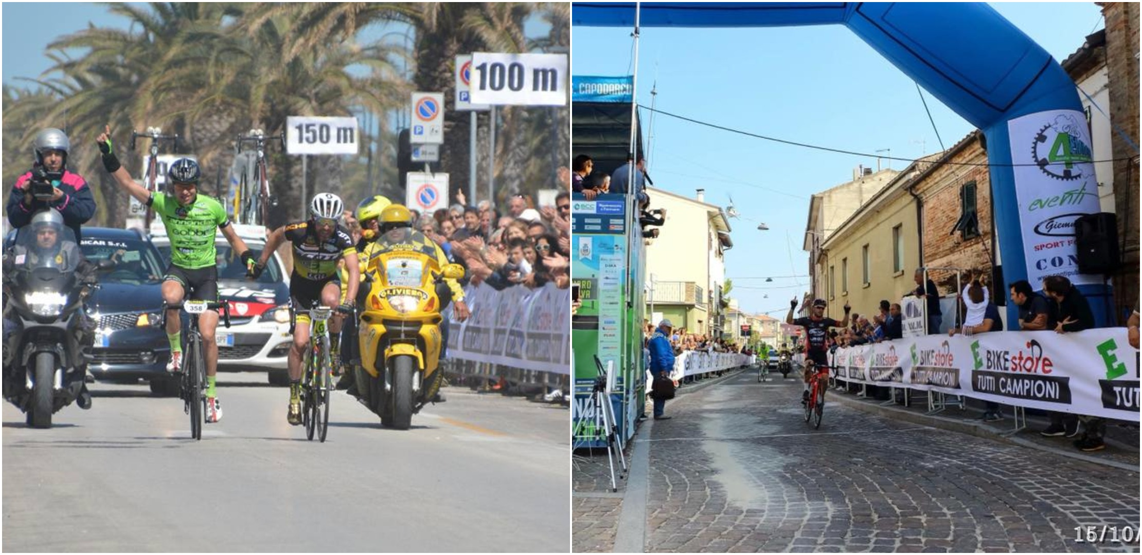 I due arrivi delle Gran Fondo di Porto Sant'Elpidio 2017