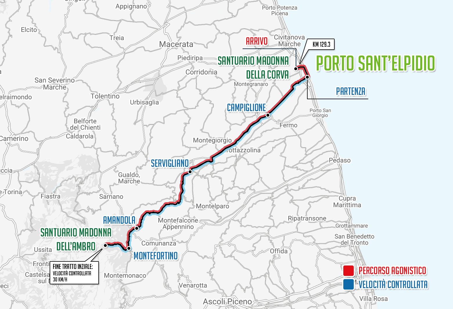 Planimetria ufficiale del percorso della Gran Fondo del Fermano, seconda edizione 2017