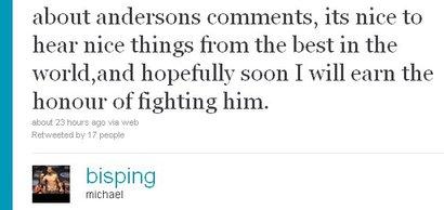 Michael Bisping risponde via twitter al messaggio di Anderson Silva 1