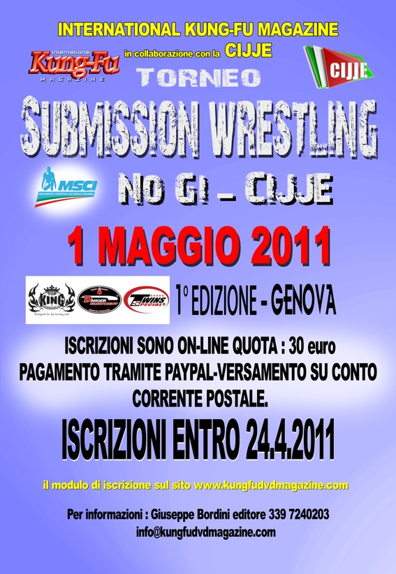 1 Torneo Submission Wrestling CIJJE (NO GI) di Genova -1 maggio 1