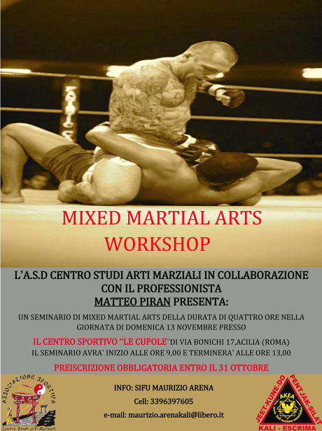 13 Novembre: MMA Workshop Con Matteo Piran 1
