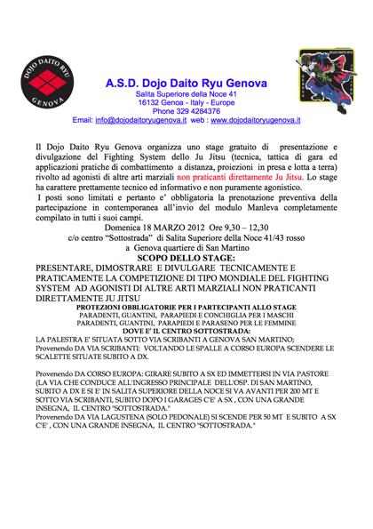 Stage gratuito di Ju Jitsu Fighting Sistem - Genova 18 marzo 2012 mattino 1