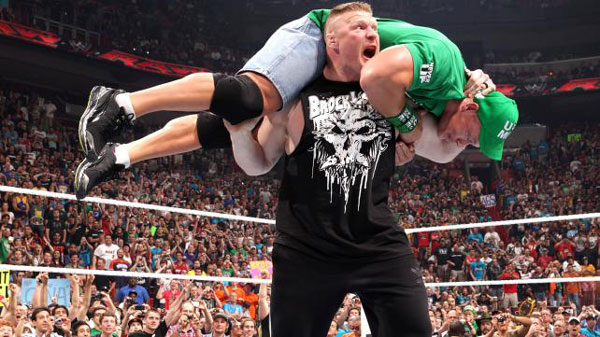 il ritorno di  Brock Lesnar in WWE (video vs John Cena) 1