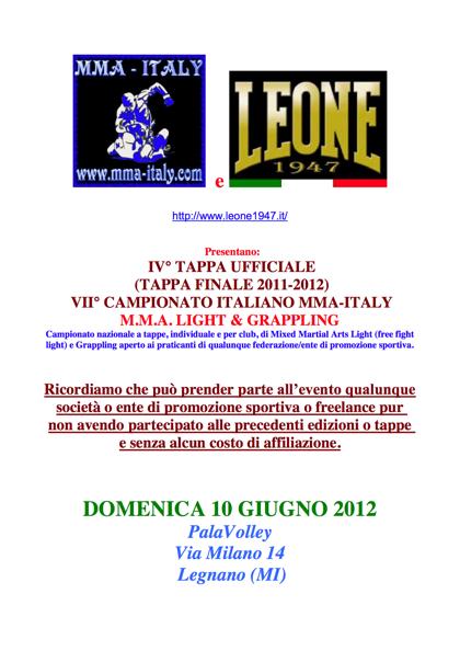 4 Tappa del VII Campionato MMA-Italy 1