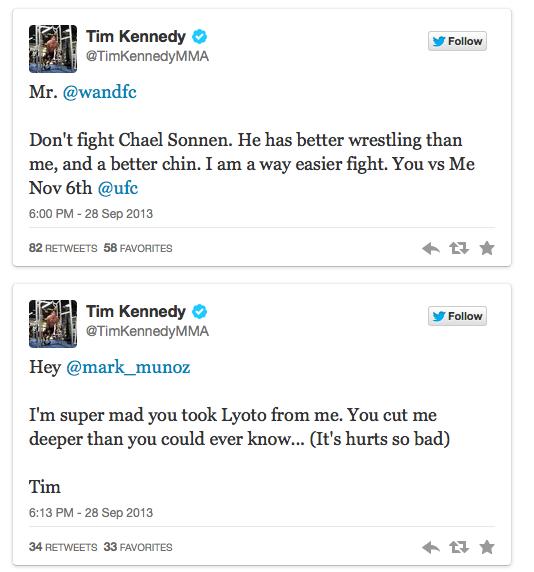 Tim Kennedy, rimasto senza avversario si da da fare su tweeter 1