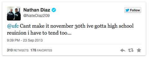 Nate Diaz annuncia via Tweeter la sua indisponibilità al TUF 18 Finale, con la miglior ragione di sempre.