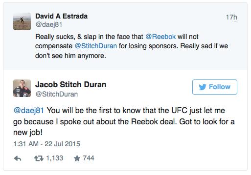 Il famoso Cutman stitch Duran  licenziato dall UFC