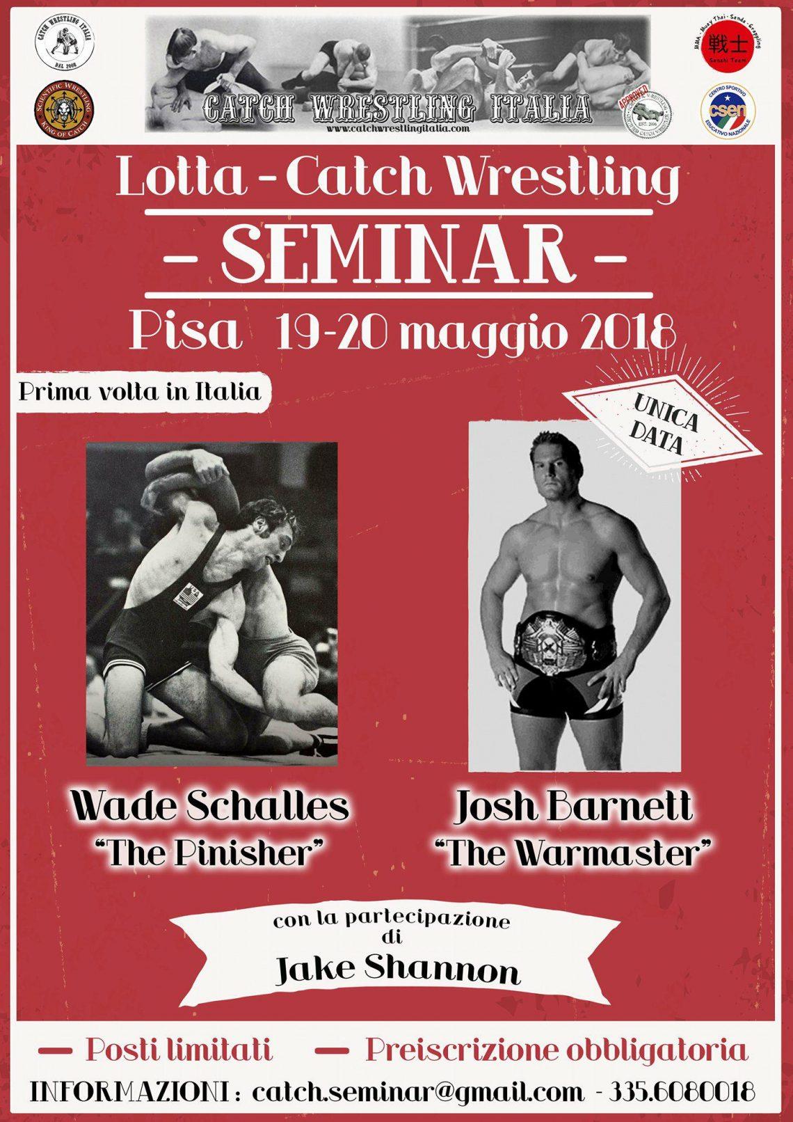 Seminario di Catch Wrestling con Josh Barnett, Wade Schalles & Mike Raho a Pisa 1