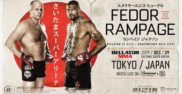 Annunciato l'evento congiunto Rizin/ Bellator: Fedor vs Rampage 3