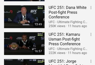 Piccola analisi dei numeri UFC 251 su Youtube. 5