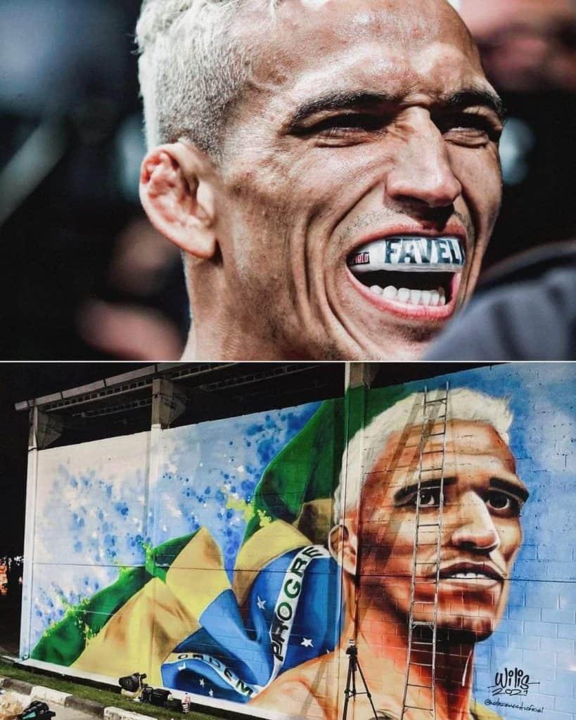 Charles Oliveira ritratto su un murales in Brasile