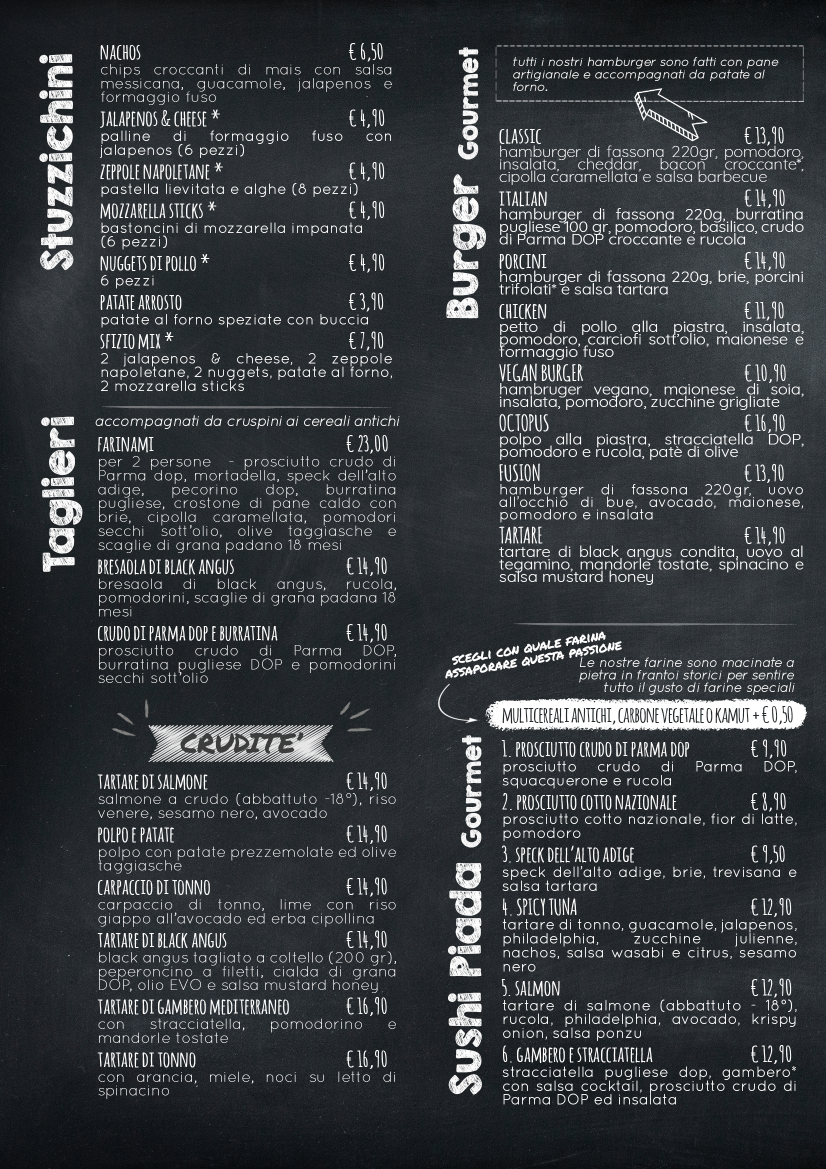 menu piadineria farinami bicocca