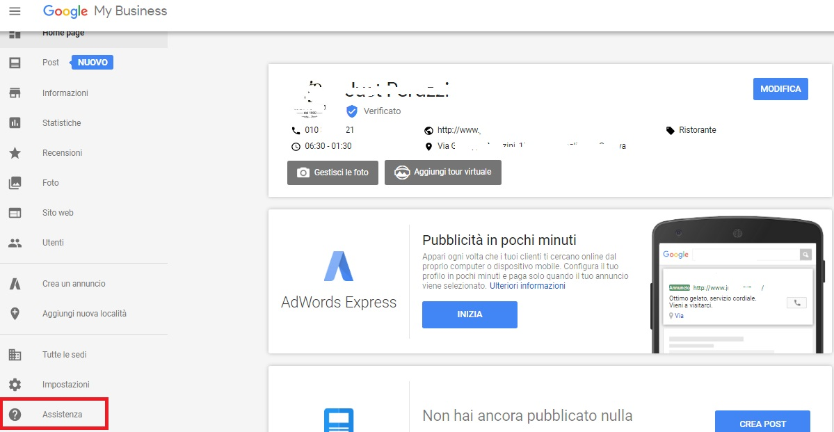 assistenza google mybusiness