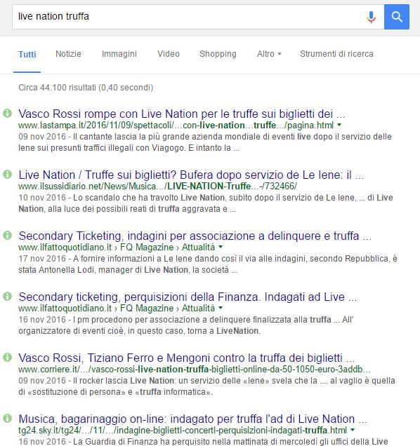 live nation truffa serp