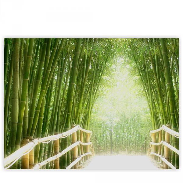 Leinwandbild 100x75 cm PREMIUM PLUS Leinwand Bild - Wandbild Kunstdruck Wanddeko Wand Canvas - BAMBOO WALK - Bambusweg Bambuswald Dschungel Asia Asien Bamboo Way Wald - no. 002