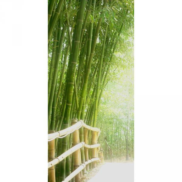 Türtapete selbstklebend 100x211 cm PREMIUM PLUS Tür Fototapete Türposter Türpanel Foto Tapete Bild - BAMBOO WALK - Bambusweg Bambuswald Dschungel Asia Asien Bamboo Way Wald - no. 002
