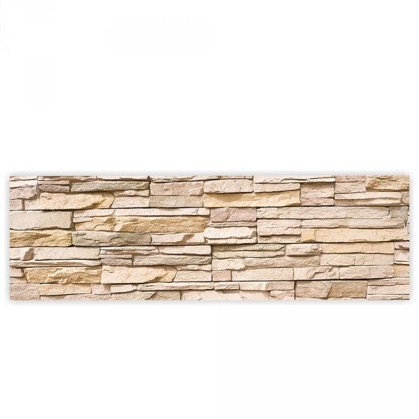 Leinwandbild 145x45 cm PREMIUM PLUS Leinwand Bild - Wandbild Kunstdruck Wanddeko Wand Canvas - ASIAN STONE WALL No. 1 - Steinwand Steintapete Wand Wall Asia Steine Asia - no. 001
