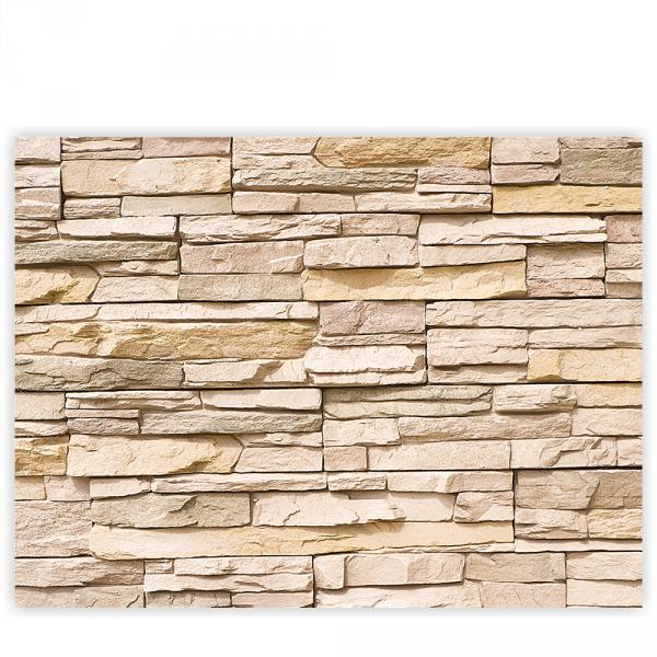 Leinwandbild 100x75 cm PREMIUM PLUS Leinwand Bild - Wandbild Kunstdruck Wanddeko Wand Canvas - ASIAN STONE WALL No. 1 - Steinwand Steintapete Wand Wall Asia Steine Asia - no. 001