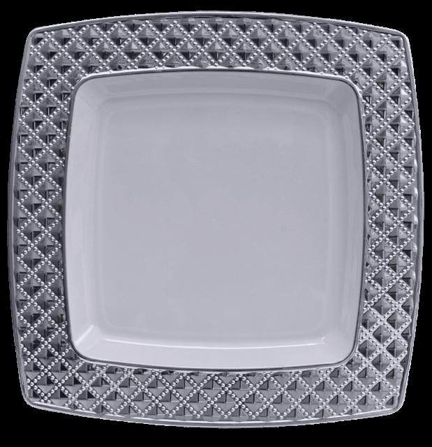 Stabile quadratischen Luxe Kunststoff Einwegteller Plastik Teller 26cm x26cm - Weiß mit Silberrand -Diamond Collection.