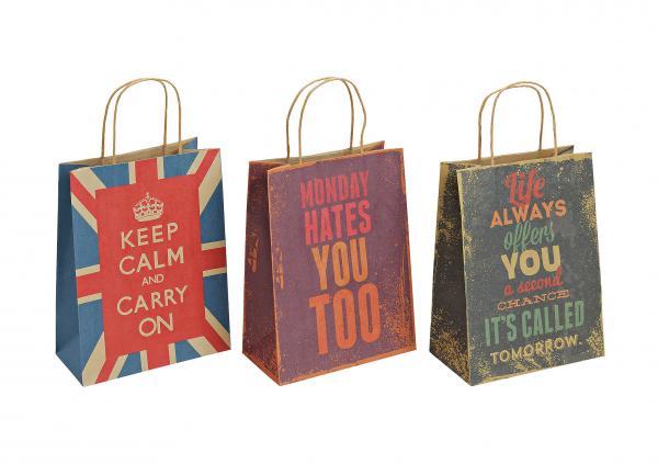 Geschenktüte Sprüche aus Papier, 3-fach sortiert, B21 x T11 x H27 cm