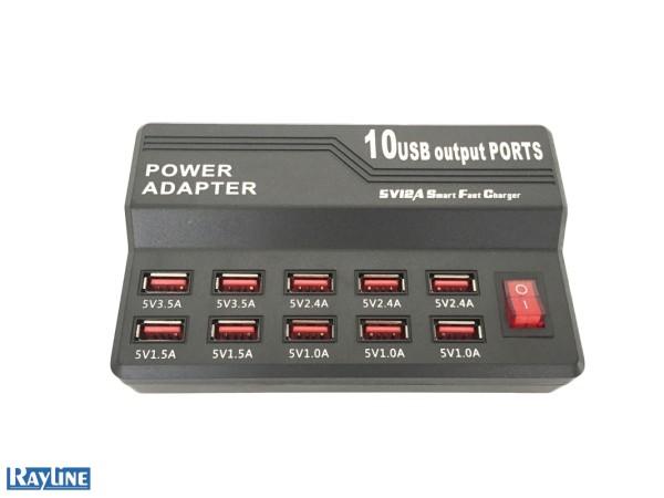 USB Schnellladegerät mit 10 USB Ports 5V12A