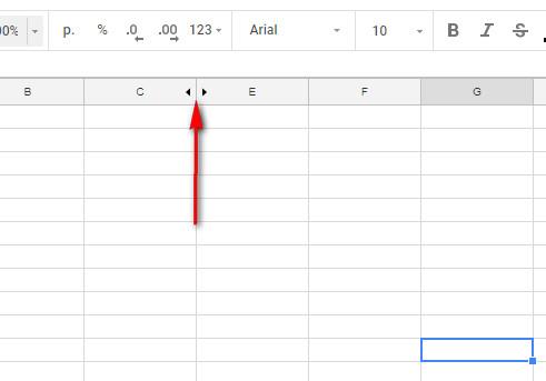 открыть столбец в гугл таблицах