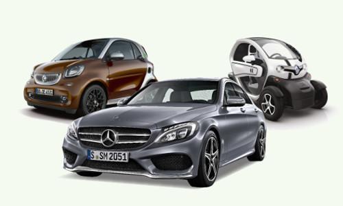 Drei Autos nebeneinander von vorne