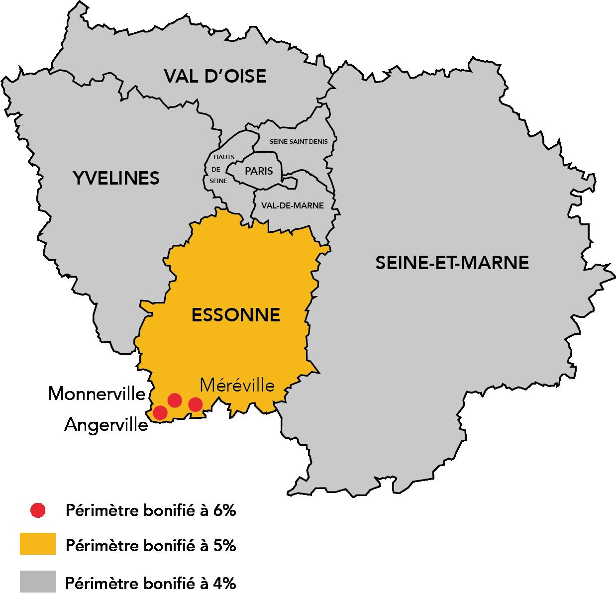 Carte des territoires éligibles