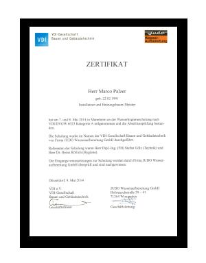 Zertifikat Trinkwasser Kat. A