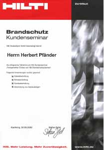 Zertifikat HILTI Brandschutzsysteme